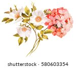 Stock photo pink white jasmine hydrangea rose flowers wedding watercolor bouquet 580603354
