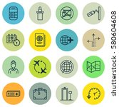 set of 16 travel icons.... | Shutterstock . vector #580604608
