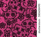 black lace seamless pattern...   Shutterstock .eps vector #580608490