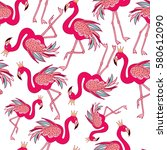 seamless pattern of flamingo on ... | Shutterstock .eps vector #580612090