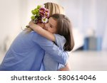 cute little girl greeting her... | Shutterstock . vector #580614046
