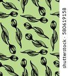 hand drawn flower pattern.... | Shutterstock .eps vector #580619158
