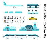 set of icons with airport... | Shutterstock .eps vector #580620898