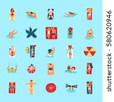 people swimming diving bathing... | Shutterstock .eps vector #580620946