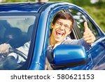 young happy hispanic man... | Shutterstock . vector #580621153