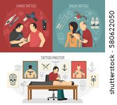 three flat tattoo studio design ... | Shutterstock .eps vector #580622050