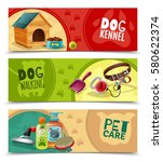 pet care 3 funny colorful... | Shutterstock .eps vector #580622374