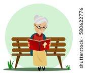 elderly woman reads the bible... | Shutterstock .eps vector #580622776