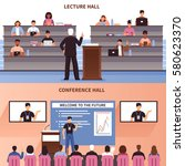 two horizontal lecture and... | Shutterstock .eps vector #580623370