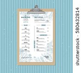 seafood menu template. fish... | Shutterstock .eps vector #580632814