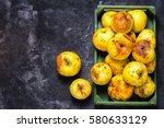 box full of of stale green... | Shutterstock . vector #580633129