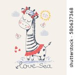 sailor jiraffe  hand drawn... | Shutterstock .eps vector #580637368