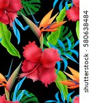 amazing tropical flowers patten.... | Shutterstock . vector #580638484