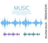 vector sound waves. music... | Shutterstock .eps vector #580644244