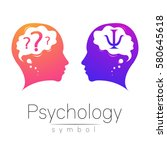 modern head sign of psychology. ... | Shutterstock .eps vector #580645618