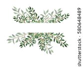 abstract green leaf border on... | Shutterstock . vector #580648489