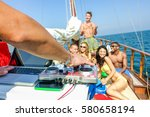 Happy Rich Friends Doing Boat...