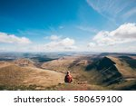 girl enjoying the welsh...   Shutterstock . vector #580659100