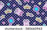 little princess seamless...   Shutterstock .eps vector #580660963
