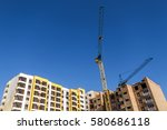 crane and high rise building...   Shutterstock . vector #580686118