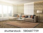 interior with sofa. 3d... | Shutterstock . vector #580687759