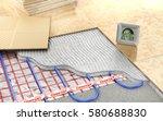 heating concept. underfloor...   Shutterstock . vector #580688830