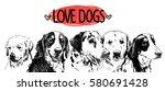 love the dogs  poster ... | Shutterstock .eps vector #580691428