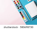 paint and brushes . back to... | Shutterstock . vector #580698730