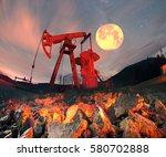 classic retro oil pump under... | Shutterstock . vector #580702888