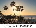 manhattan beach at sunset time... | Shutterstock . vector #580704940