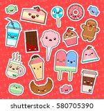 set of cute kawaii food... | Shutterstock .eps vector #580705390