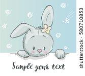 Stock vector cute little cartoon hare 580710853