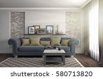 interior with sofa. 3d... | Shutterstock . vector #580713820