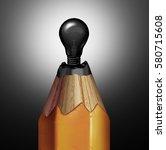 pencil light bulb idea as a... | Shutterstock . vector #580715608