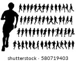 people athletes on running race ... | Shutterstock .eps vector #580719403