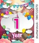 1st birthday celebration... | Shutterstock .eps vector #580722070