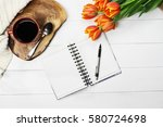 overhead shot a cup of coffee ... | Shutterstock . vector #580724698