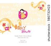 baby shower invitation template.... | Shutterstock .eps vector #580732423