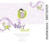 baby shower invitation template.... | Shutterstock .eps vector #580732429