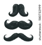 Vector hand drawn stylish black mustaches set with some gray hair. Comic funny shaped moustaches collection. Cool father's day decorative elements isolated on white.