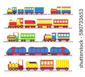 cartoon kids toy trains ... | Shutterstock .eps vector #580733653