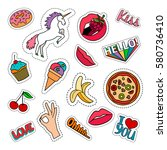 funny quirky colorful food... | Shutterstock .eps vector #580736410