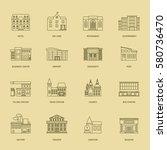 vector building line icons.... | Shutterstock .eps vector #580736470