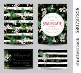 save the date card set.... | Shutterstock .eps vector #580737358