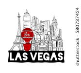 Stock vector hand drawn las vegas city skyline design 580737424