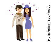 cute happy couple embracing.... | Shutterstock .eps vector #580738138