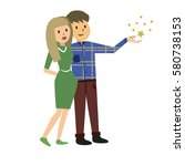cute happy couple embracing.... | Shutterstock .eps vector #580738153