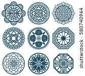 traditional korean symbols ... | Shutterstock .eps vector #580740964