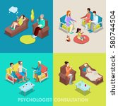 isometric psychologist... | Shutterstock .eps vector #580744504