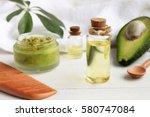 home spa. avocado oil facial...   Shutterstock . vector #580747084